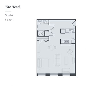 The James Ferndale, The Heath, a studio senior apartment floor plan