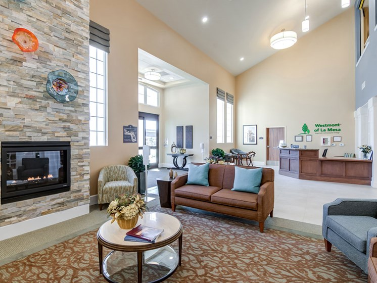 Lobby Area With Fireplace at Westmont of La Mesa, La Mesa, 92020