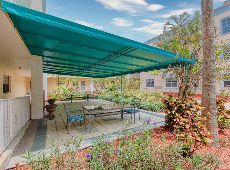 Covered patio with tables and chairs