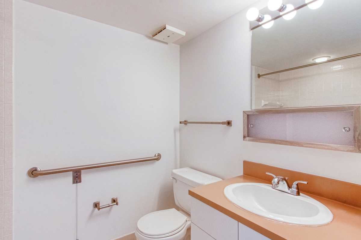 sink and toilet with nearby grab bars