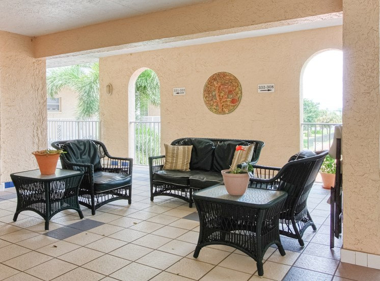open air patio with comfortable seating