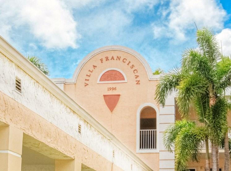 Logo and name on exterior of Villa Franciscan