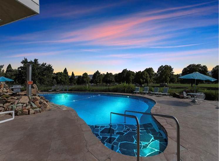 Pool with a view at Parkview Apartments, Boise, Idaho