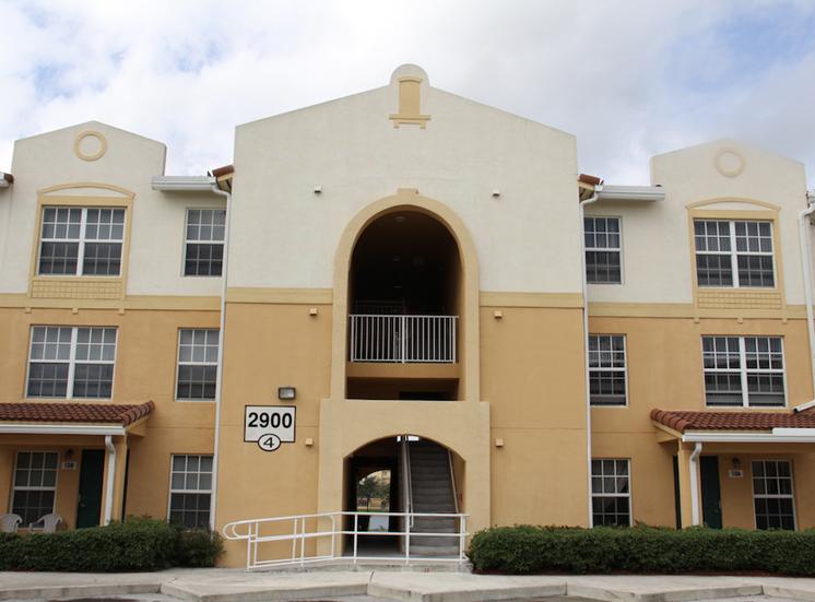 well-kept walkways, breezeways, and facades at Crystal Lake apartments