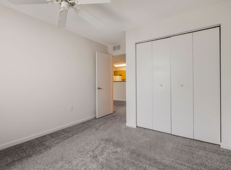 Bedroom with carpet flooring and large closet