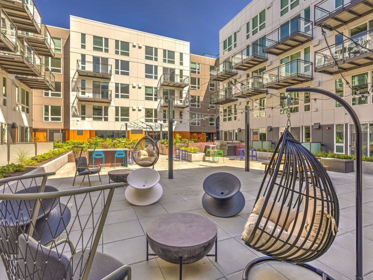 Courtyard with Seating and Grills
