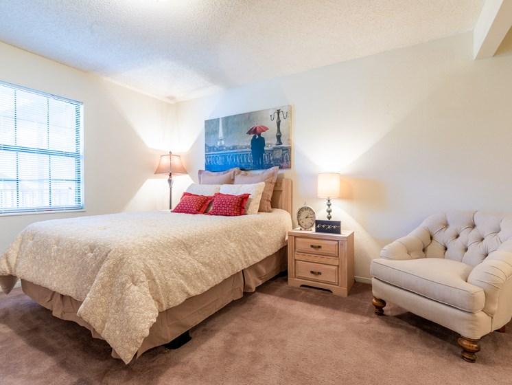 1 Bedroom bed nightstand chair