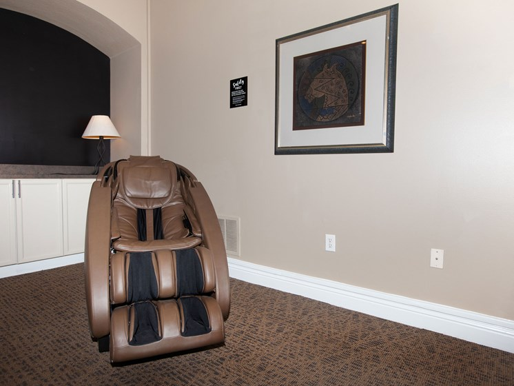 brown massage chair in clubhouse