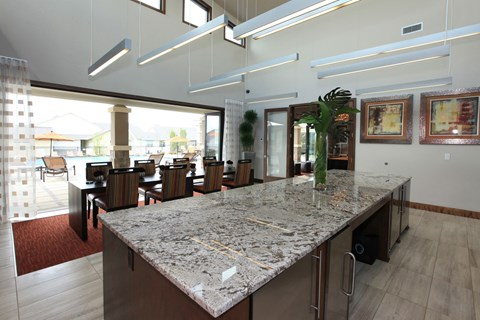 clubhouse kitchen and tables