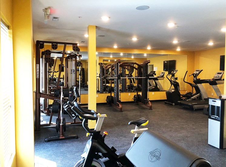 Large fitness center equipped with weights and cardio equipment.
