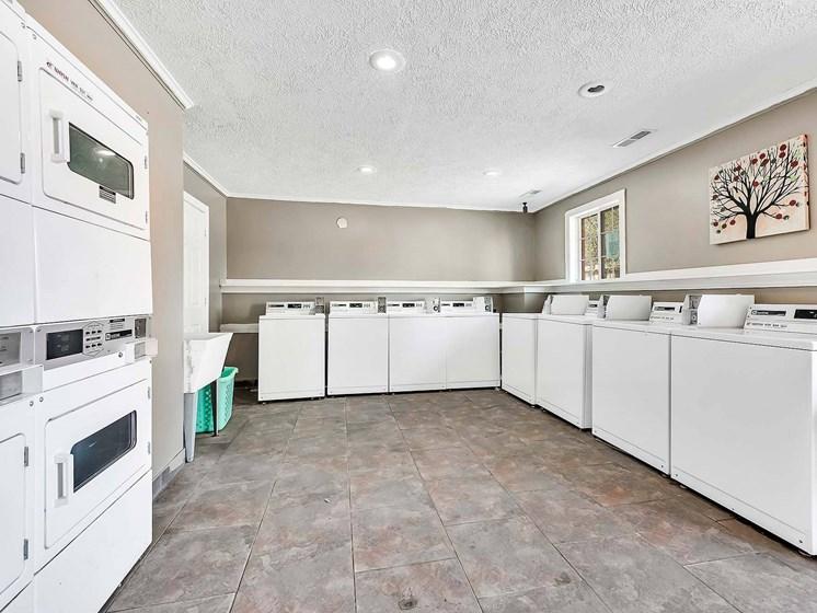 Modern Laundry Room at Rivershell Apartments, Michigan, 48911