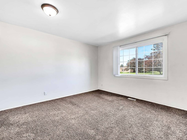 Carpeted Bedroom With Natural Light at Rivershell Apartments, Michigan