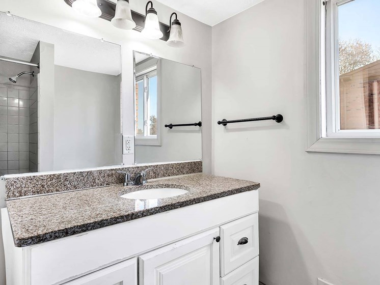 Designer Counter-Top And Bathroom Accessories In Wash Room at Rivershell Apartments, Michigan, 48911