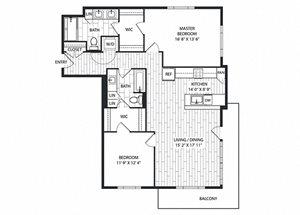 Black-Oak Floor Plan at The Sur, Arlington, VA