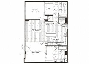 Blue-Oak Floor Plan at The Sur, Arlington, VA, 22202