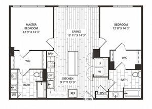 Coast- Floor Plan at The Sur, Arlington, 22202