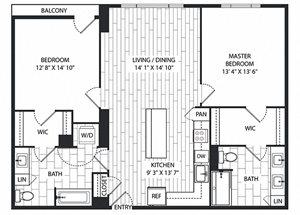 Coulter Floor Plan at The Sur, Arlington, Virginia
