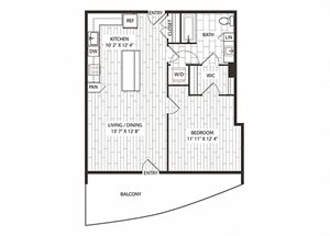 Oak Floor Plan at The Sur, Arlington, VA, 22202