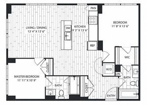 Tan-Oak Floor Plan at The Sur, Arlington, 22202