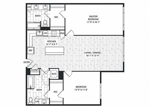 Walnut Floor Plan at The Sur, Virginia, 22202