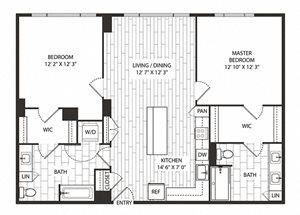 White-Oak Floor Plan at The Sur, Arlington