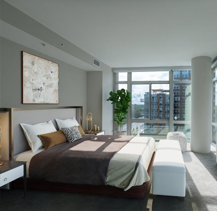 Beautiful Bright Bedroom With Wide Windows at The Sur, Virginia, 22202