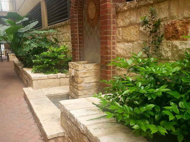 Interior courtyard with lush landscape
