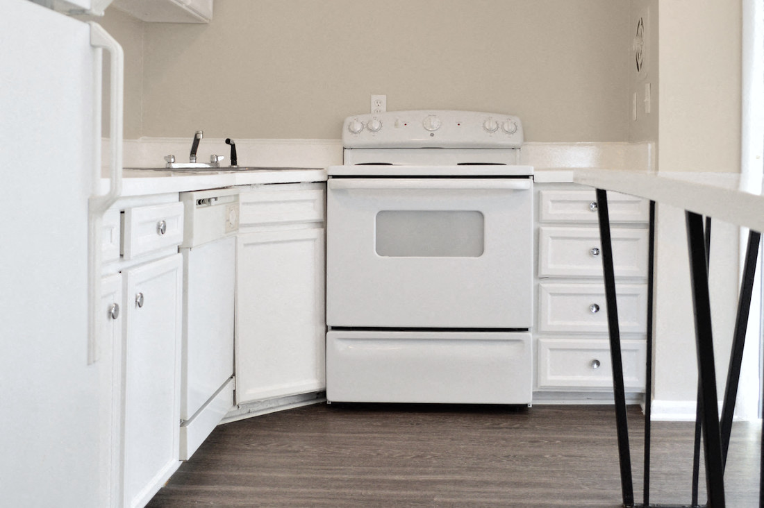 kitchen with island and white appliances