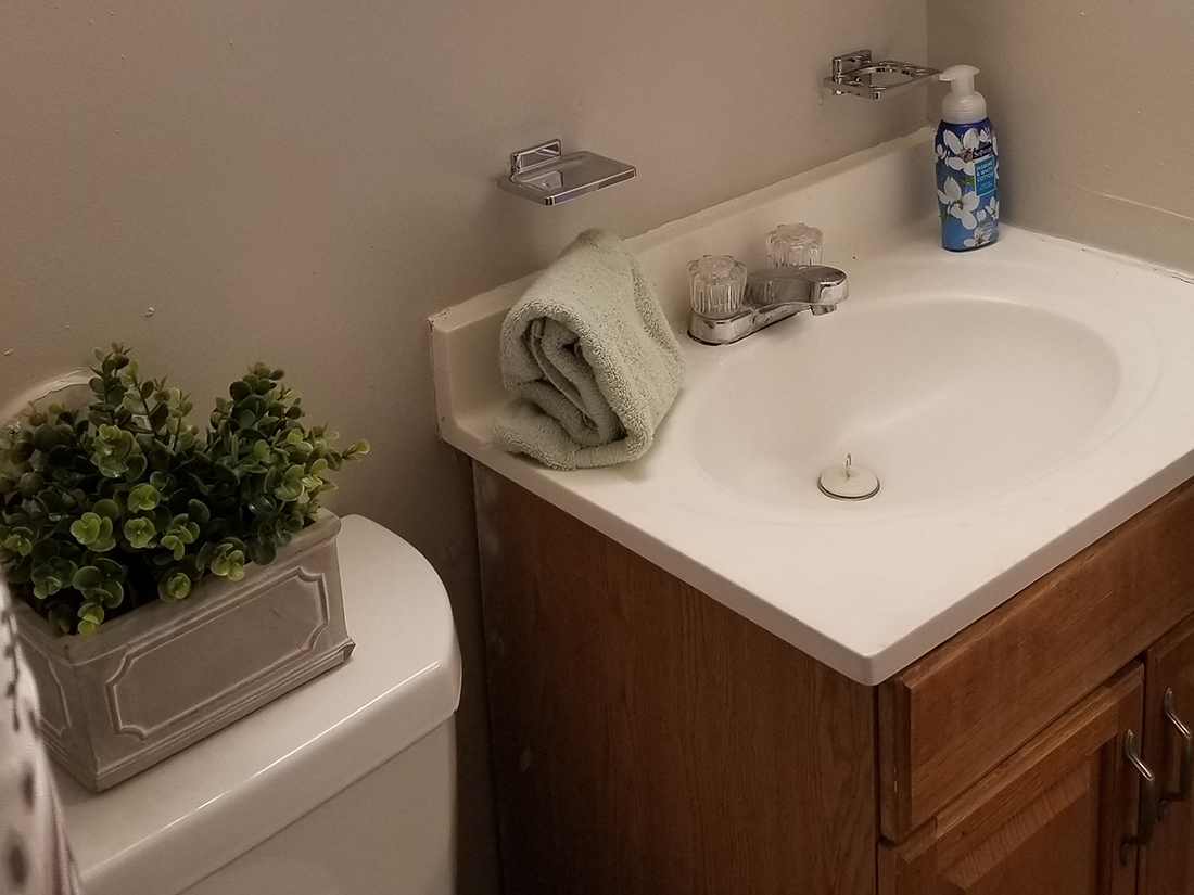 furnished bathroom with decor at River Road Terrace