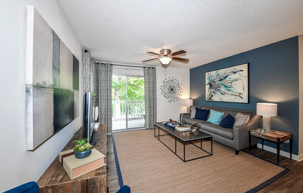 Living Room With Private Balcony at Lakeside at Arbor Place, Douglasville