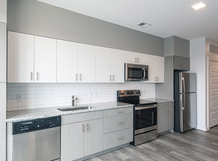 Kitchen in the one bedroom apartment at Helix