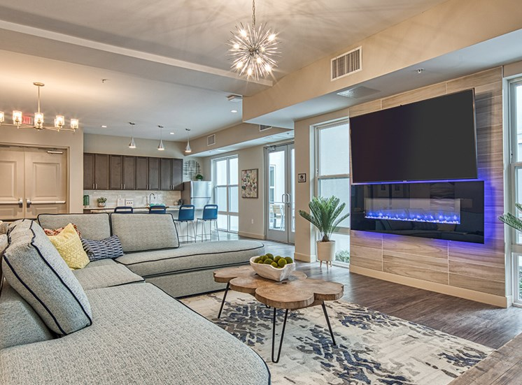 Sofa and fireplace at Axis at PTC apartments