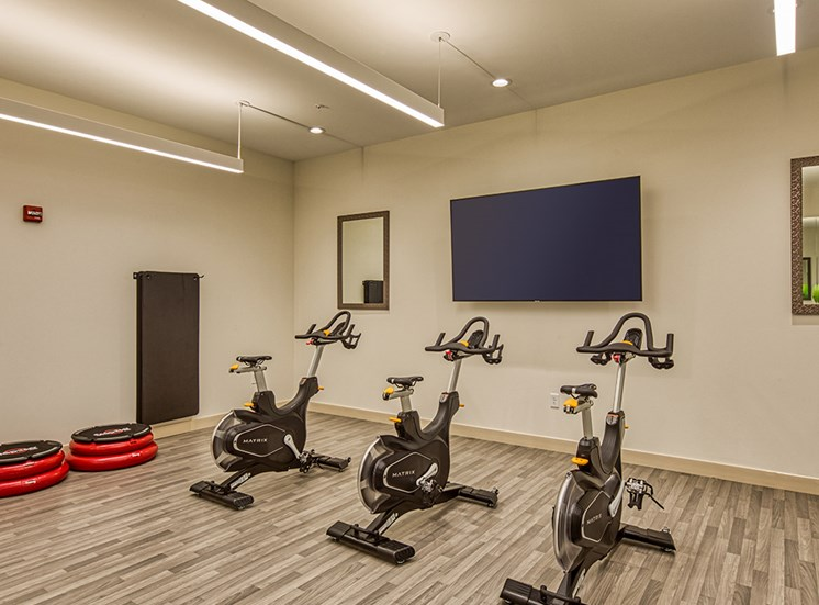 Bikes in fitness Center at Axis at PTC Apartments