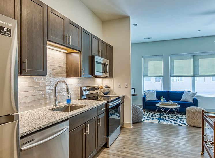 Kitchen in apartment at Axis at PTC