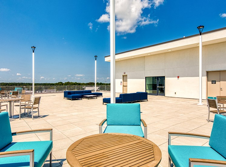Seating on Rooftop Deck at Axis at PTC in Hampton VA