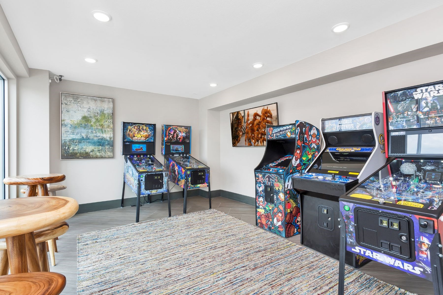 Westwood Green Apartments Clubhouse Pinball room with 5 machines
