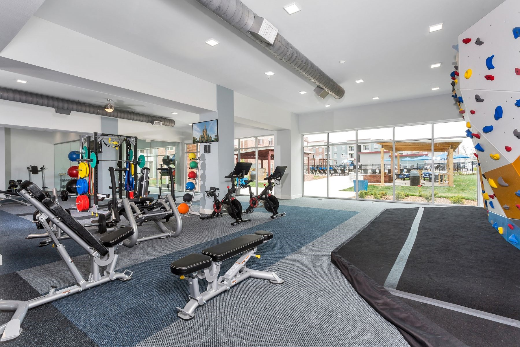 Westwood Green Apartments Fitness Center with rock climbing wall