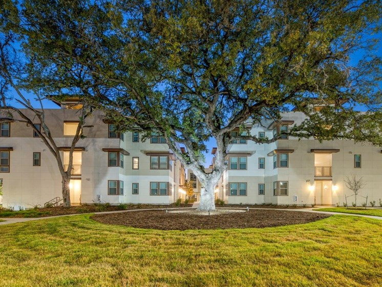 Dusk Property Exterior and Courtyard