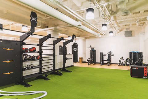 Fitness Center With Modern Equipment at The May, Ohio, 44114