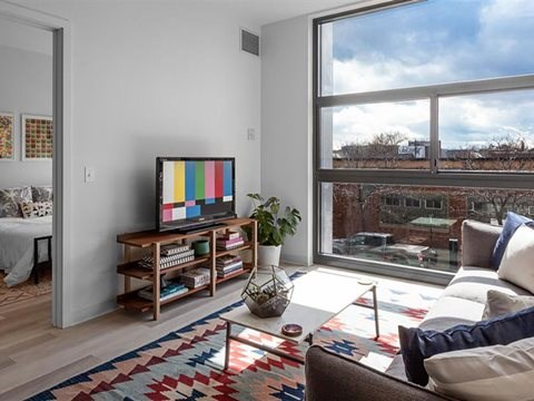 apartment living room with floor to ceiling windows