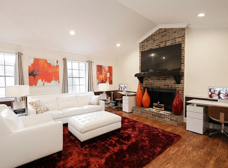 spacious clubhouse with fireplace at Crestwood Green at 701 Apartments