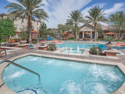 Sonata Saltwater Pool, Spa, And Sundeck With Cabanas in North Las Vegas Apartments for Rent