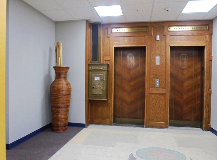 historic art deco dual elevators