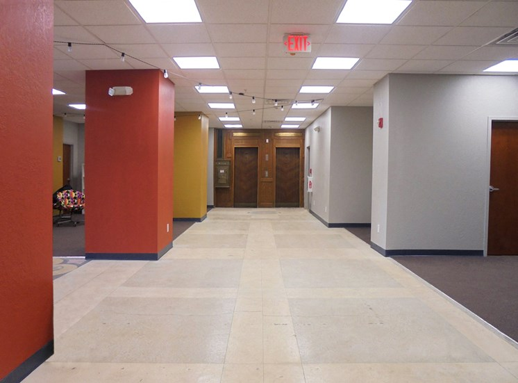 large lobby with dual elevators