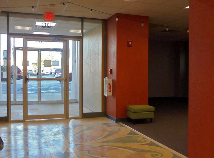 glass entrance doors at Hoffman Hotel