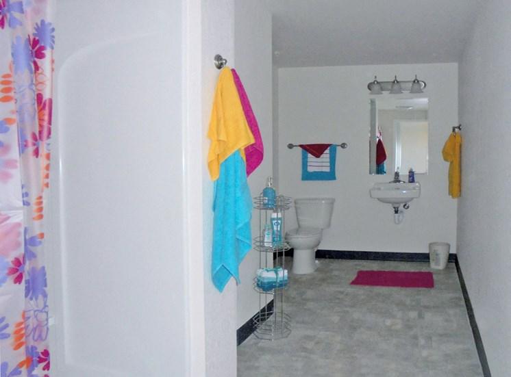 bathroom in one bedroom hoffman hotel apartment