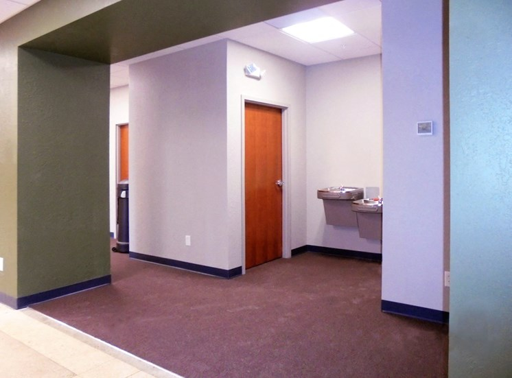 bathrooms and water fountains in lobby area