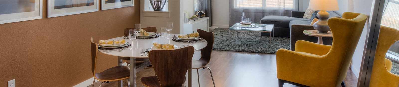 Model apartment home dining and living room