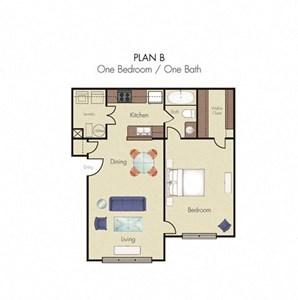 1 Bedroom 1 Bath 2D floorplan Plan B-Quality Hill Square, Kansas City, MO