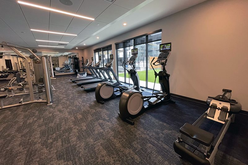 indoor fitness center with various equipment